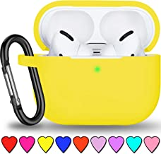 YIATCY Airpods Pro Case Cover, Soft Silicone Protective Cover Skin with Keychain Compatible with Apple AirPods Pro [Front LED Visible] Yellow