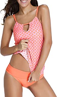 Best Womens Banded Printed Tankini Top with Triangle Briefs Swimsuit Review