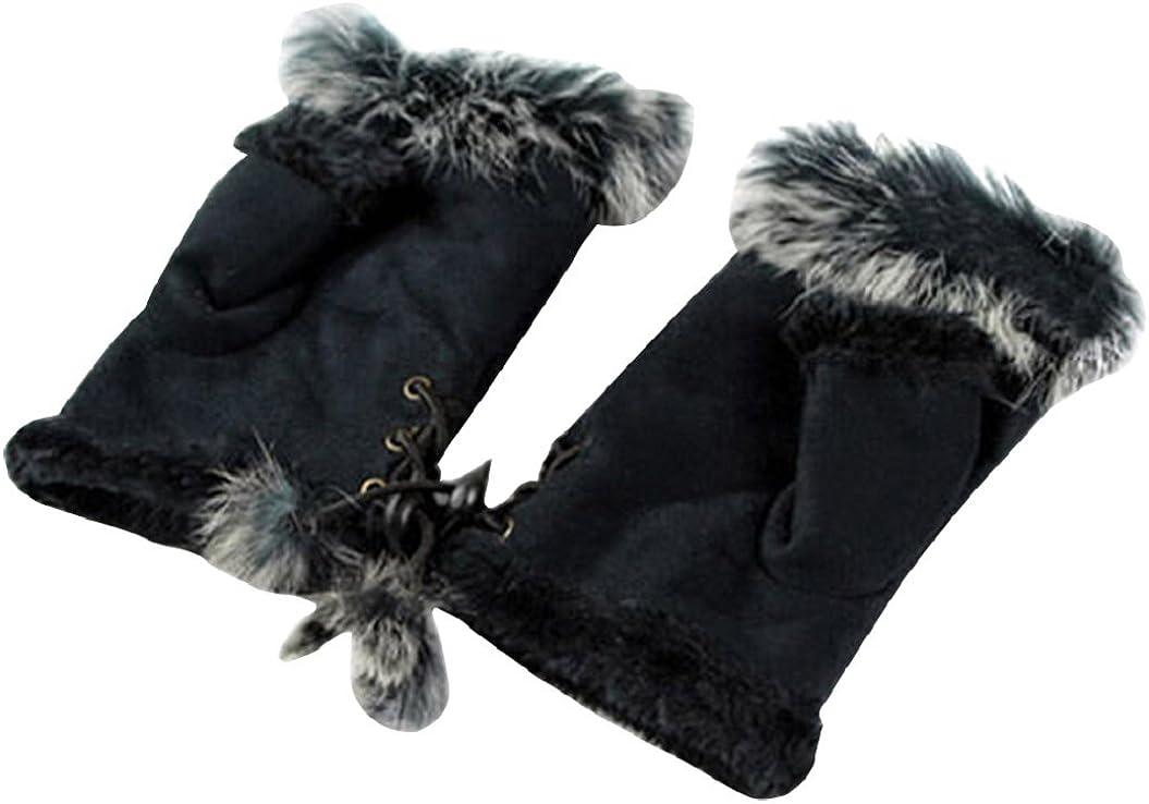 Shineweb Women Teen Classic Winter Suede Warm Hands Wrist Fingerless Gloves