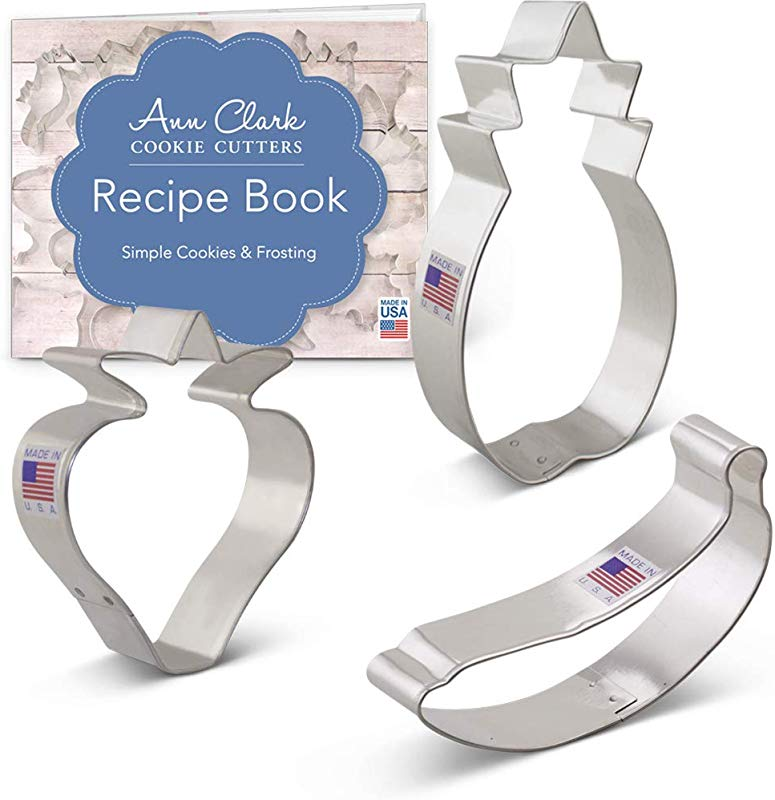Ann Clark Cookie Cutters 3 Piece Fruit Cookie Cutter Set With Recipe Booklet Strawberry Banana And Pineapple