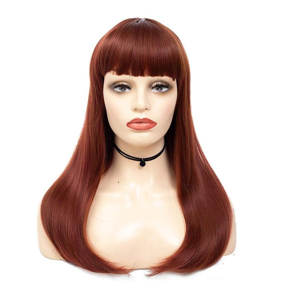 バンジージャンプオープナー適合HOHYLLYA 女性の茶色のハイライト前髪高温ファイバーかつらパーティーウィッグと赤の長いストレートの髪を強調表示します。 (色 : ブラウン, サイズ : 55cm)