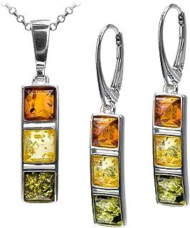 Sterling Silver Multicolor Amber Square Set