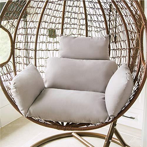 ZJHTK Hamaca de huevo para colgar en el jardín, silla de mimbre y ratán para colgar en el jardín, para interiores y exteriores, patio, patio trasero (sin silla), color gris