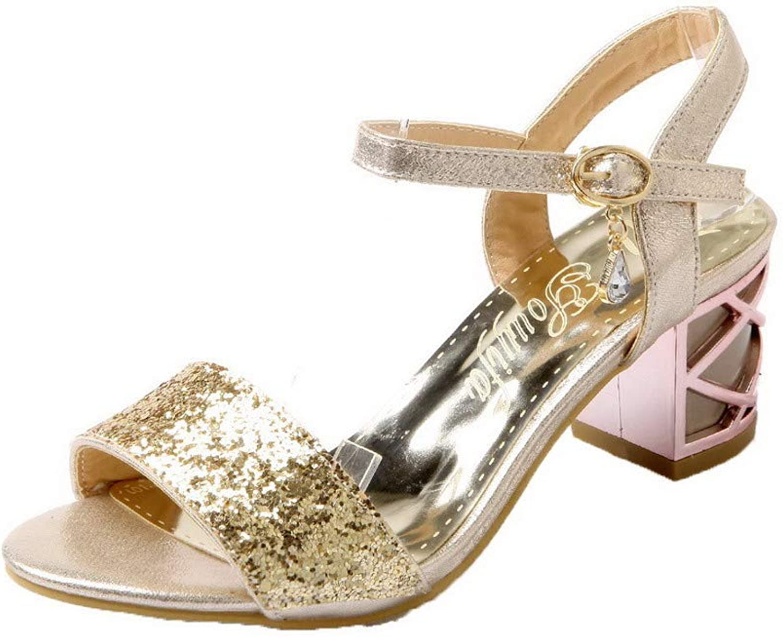 WeiPoot Women's Open-Toe Buckle Blend Materials Solid Kitten-Heels Sandals, EGHLH007576