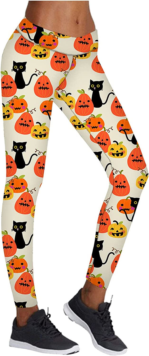 High Waisted Sales of SALE items from new works Pattern Leggings for Women Xmas - Max 87% OFF Pumpkin Halloween