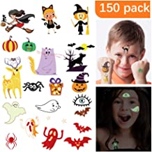 HIGHEVER Temporary Tattoos for Kids, 150 Pack Temporary Halloween Tattoos,Including Glow in The Dark Children Tattoos Halloween,2(Glow in The Dark)+8(Normal) Safe Makeup for Kids (Halloween Tattoo)