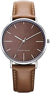 Waterproof Watch Brown Green White Women's Girl Lady Unproblematic Ultra-Thin 8mm Quartz Watch 40mm Leather Strap Fashion Raincoat 3ATM (Color : Brown)