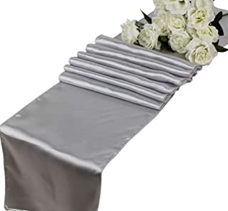 mds Pack of 10 Wedding 12 x 108 inch Satin Table Runner for Wedding Banquet Decoration- Light Silver