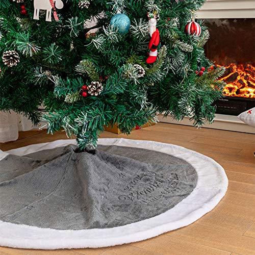 Deggodech 122cm Weihnachtsbaum Röcke Plüsch Weihnachtsbaum Rock Grau Weiß Kunstpelz Weihnachtsbaumdecke Fell Christbaumständer Teppich für Weihnachtsfeiertag Dekorationen (Grau, 122CM/48 Zoll)
