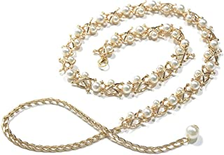 Song Qing Women Waist Strap Imitation Pearl Metal Chain Tassel Decorative Belt