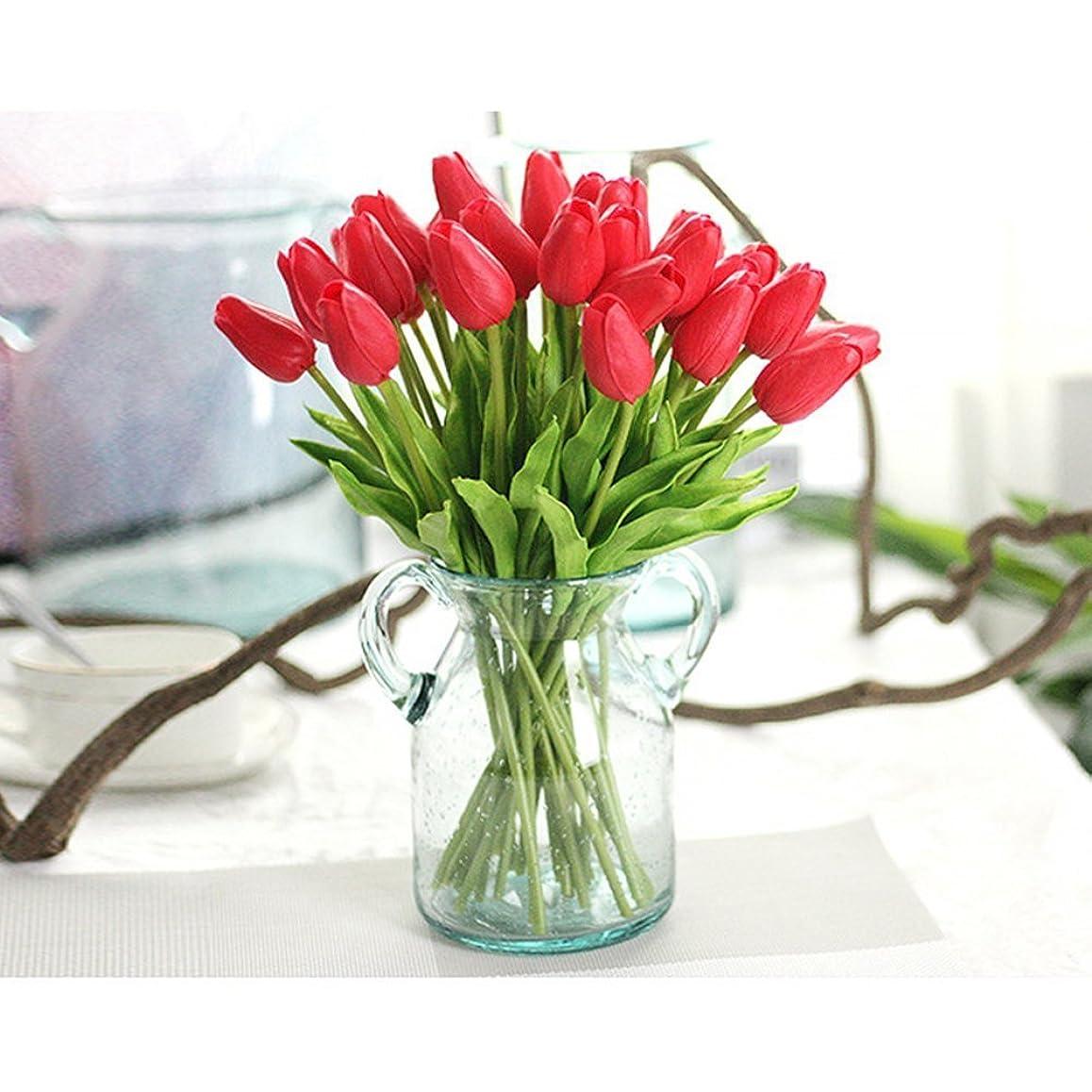 悲劇的なポテトメドレーPichidr 造花 チューリップ 10本セット アートフラワー 手作りブーケ フラワーアレンジ かわいい 枯れない花 インテリア飾り 本物そっくり 母の日 ギフト レッド