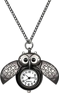 Pocket Watch Unique Vintage Owl Pocket Watches Retro Bronze Pendant Necklace Chain Gift for Girls Boys Kids