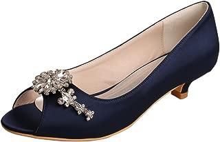 MW625 Women Peep Toe Low Heel Rhinestone Satin Comfortable Wedding Prom Shoes