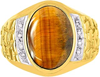 RYLOS 14K Yellow Gold Nugget Ring with Oval Shape Cabochon Gemstone & Genuine Sparkling Diamonds
