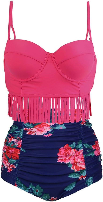 AFPANQZ    Retro High Waist Fringe Women's Bikini Set Strappy Push up Bathing Suit