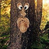 Cara de árbol, decoración de jardín, espíritu natural, 4 piezas, figuras divertidas, para colgar