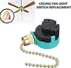 Hunter Ceiling Fan Switch 3 Speed 4 Wire Zing Ear ZE-268S6 Pull Chain Switch Control Replacement 3 Speed Control Switch Ceiling Fans, Wall Lamps, Cabinet Light (Brass Pull Chain)
