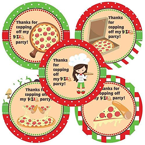 Pizza Girl Thank You Sticker Labels - Kids Children Birthday Party Favors Supplies - Set of 30