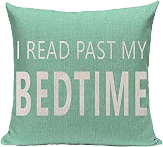 Book Lover Reading Book Club I Read Past My Bedtime Cotton Linen Throw Pillow Case Cushion Cover Home Office Decorative Sq...