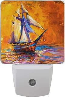MAHU Night Light Art Painting Sail Boat, Auto Sensor LED Night Light Lamp Down to Dusk Plug in Bulb for Kids Boys Girls Adults Room Hallway, 2 Pack