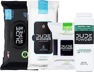 DUDE Wipes Flushable (48ct) DUDE Shower Body Wipes (8ct) DUDE Face Wipes (30ct) & DUDE Body Powder Menthol Chill (1 Bottl...