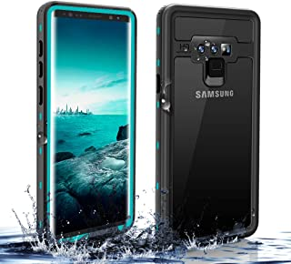 SHARKSBox Galaxy Note 9 Waterproof Case,Underwater Cover Full Body Protective, Kickstand Holder Heavy Duty Protective Carrying Slim Case Shockproof IP68 Waterproof Case for Note 9 (Grass Blue)