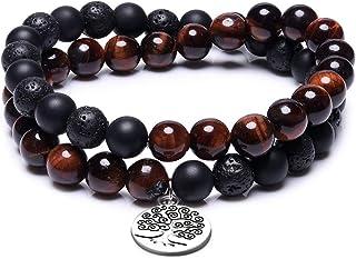 Cat Eye Jewels 8MM Prayer Mala Beaded Bracelets Natural Amazonite Lava Rock Amethyst Onyx Tiger Eyd Beads Tree of Life Wrap Bracelets for Men Women