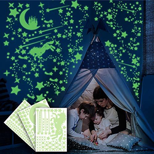 Ezigoo Luminoso Pegatinas De Pared y techo - 292 Piezas (Unicornio, Castillo, Luna, Estrellas y Puntos). Set De Decoración Destello De Oscuridad. Decoración Para Dormitorios Infantiles