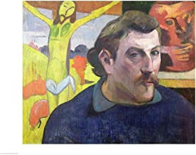 Self Portrait with The Yellow Christ, 1890 by Paul Gauguin Art Print, 27 x 20 inches