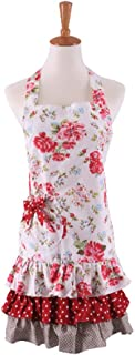 Apron,100% Cotton Women's Apron,Kitchen Apron with Practical Front Pockets Great Gift for Wife Daughters and Ladies (Red Flower & White Background)