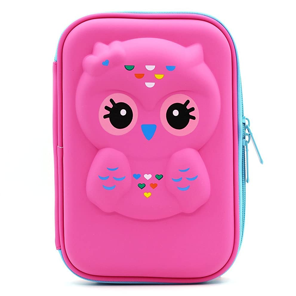 JUJIN Cute Owl Face Hardtop EVA Pencil Case Big Pencil Box with Compartment for Kids (Rose Red)