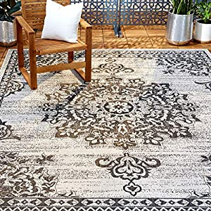 Home Dynamix Nicole Miller Patio Country Azalea Indoor/Outdoor Area Rug 5'2″x7'2″, Traditional Medallion Gray/Black
