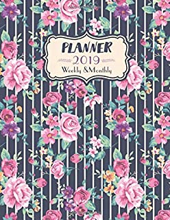 2019 Planner Weekly and Monthly: One Year Dated Vintage Floral Stripes Planner With Feminine Cute Design - 12 Months Calen...