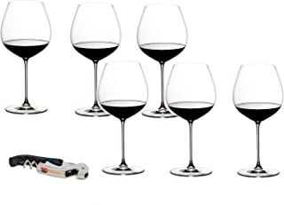 Riedel Veritas Crystal Old World Pinot Noir 6 Piece Wine Glass Set with Bonus BigKitchen Waiter's Corkscrew