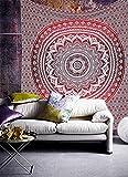 Raajsee Indisch Psychedelic Mandala Wandteppich Rot Ombre , Indien Hippie Boho Dekor Wandtuch, Mehrfarbiger Groß baumwolle Wandbehang 54x82 Inches