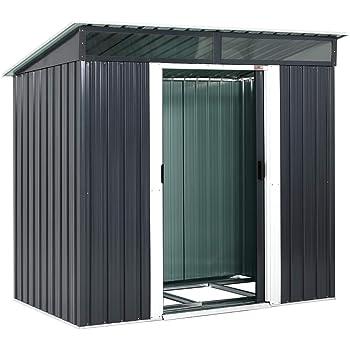 Gardebruk® - Caseta de jardín de metal, 2 m², 2 ventanas, puerta corredera: Amazon.es: Jardín