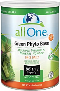 ALL ONE Green Phyto Base Multiple Vitamin and Mineral Powder, Unflavored, 66 Servings