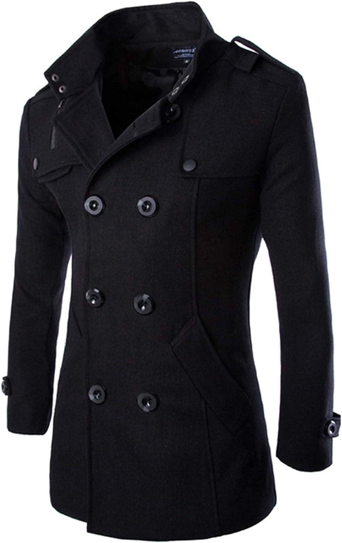 Allonly Men's Fashion Lapel Double Breast Long Sleeve Solid Color Wool Blend Coat Winter Outwear