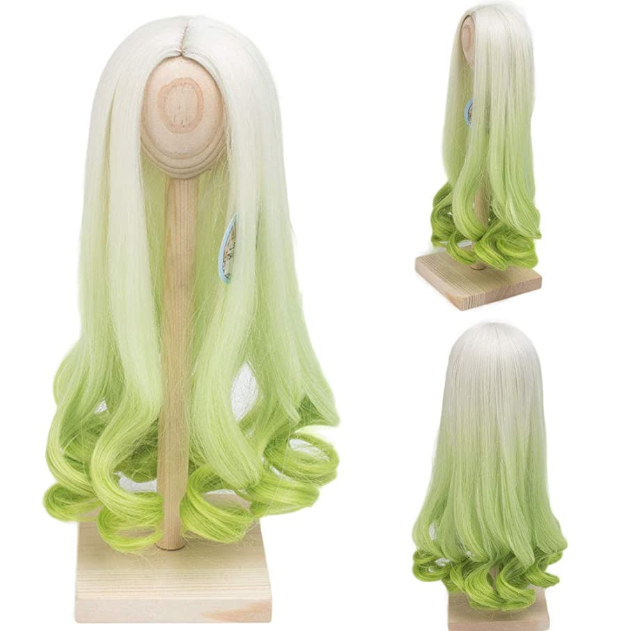 Doll Wigs Heat Resistant Wire Long Deep Curly White Green Color Hair Wig for 1/3 1/4 1/6 BJD/SD Dolls(1/3)