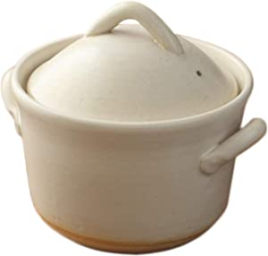 Japanese Donabe Cocer Rice Cooking Pot, 3 Go, 2200cc, White