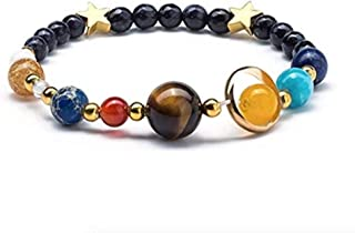 Solar System Bracelet with Jewelry Bag & Meaning Card | Adjustable Bracelet to Fit Any Wrist | 9 Planets Galaxy Universe Guardian