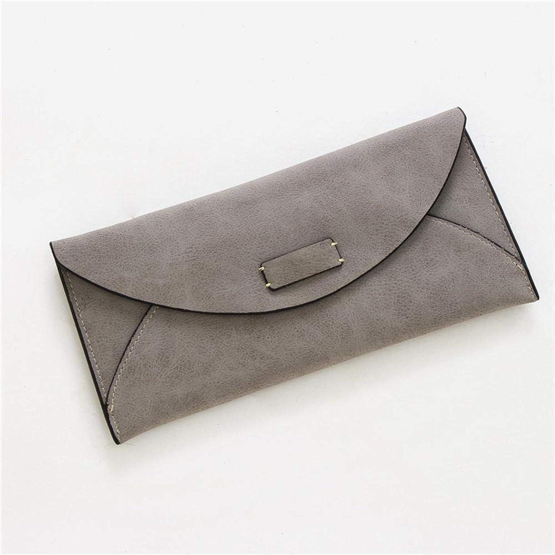 Girls Purse Women's Wallet Long BiLight Retro Minimalist Fashion Abrasive Buckle Envelope Length (color   B)