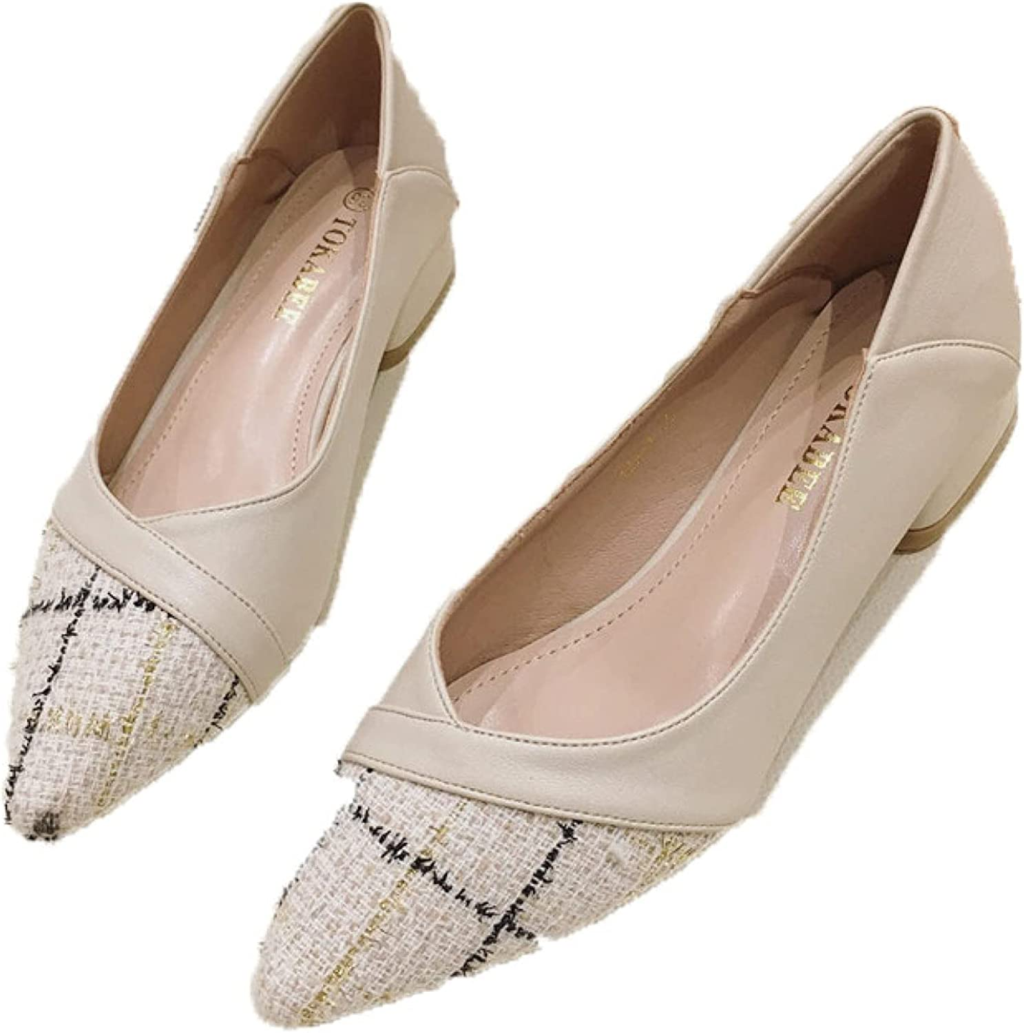 Womens Slim Solid Closed Pointed Toe Ranking TOP11 Pu Slip-on Low Heels Chunky Recommendation