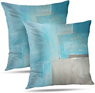 Alricc Abstract Art Pillow Cover, Blue Ocean Watercolor Rustic Grunge Square Watercolour Old Decorative Throw Pillows Cushion Cover for Bedroom Sofa Living Room 18 x 18 Inch Set of 2