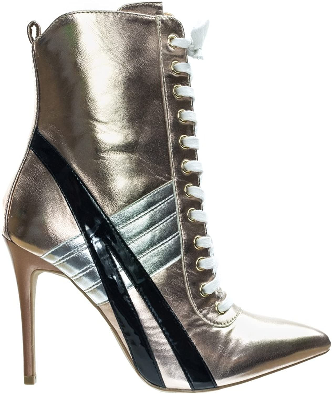Wild Diva Lace up High Heel Sneaker Above Ankle Bootie, color Block & Pointed Toe