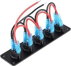 5 Gang Rocker Switch Round Toggle Switch Waterproof, 12-24V Car Marine Blue LED Toggle Switch Panel (1pc)