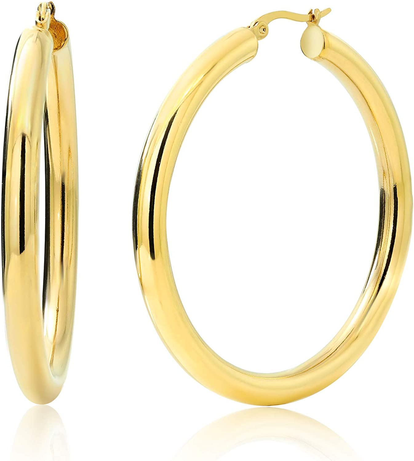 Gem Stone King 2 Inches Year-end gift Wide Steel Earring Yellow Deluxe Hoop Stainless
