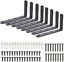 Plankhoek, 8 stuks, hoekrek, rekhoek, zwarte plankdrager, plankhouder, plankhouders, wandbeugels, plankdragers, 125 x 75 m...
