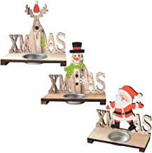 KESYOO 3pcs Xmas Wooden Tealight Candle Holder Reindeer Snowman Santa Claus Candle Holder for Home Decoration Christmas Ce...