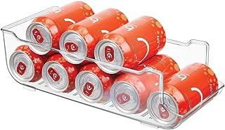 mDesign Caja de almacenaje para frigorífico y armarios de cocina – Contenedor de plástico ideal para alimentos, con capacidad para 9 latas – Práctico organizador de nevera – transparente